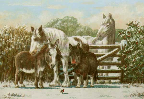 Horse and donkey rescue Christmas card